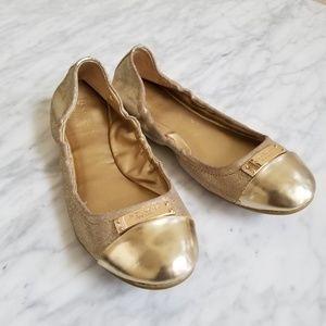 Coach Gold Metallic Darci Lurex Flats Size 7